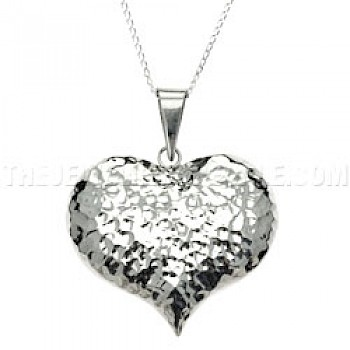 Cute Hammered Silver Heart Pendant - Large