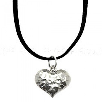 Cute Hammered Silver Heart Pendant - Small