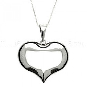 Cute Polished Silver Heart Pendant - Large