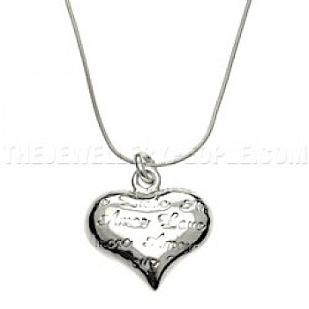 Cute Text Silver Heart Pendant - Small