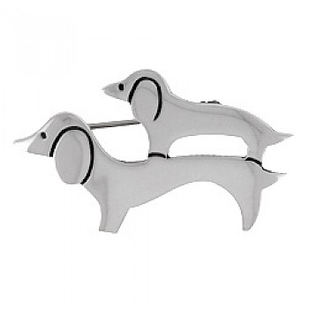 Dachshund Dogs Silver Brooch - 44mm Wide