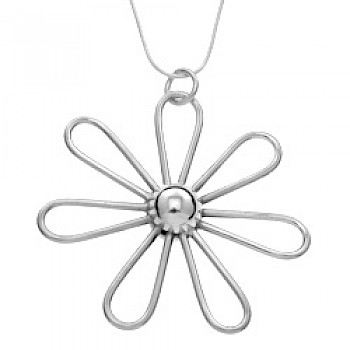 Daisy Solid Silver Pendant - 65mm