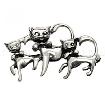 Dancing Cats Silver Brooch - 40mm Wide