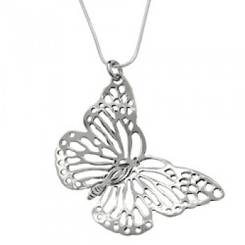 Diagonal Silver Butterfly Pendant - 55mm