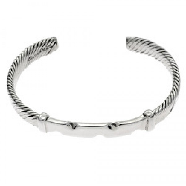 Silver Flexible Wire ID Bangle - 9mm Wide
