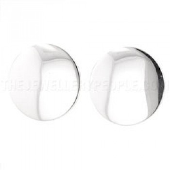 Domed Disc Silver Clip-On Earrings - 18mm