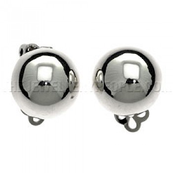 Dome Silver Clip On Earrings - 13mm
