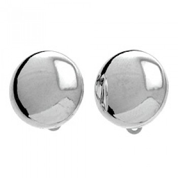 Dome Silver Clip On Earrings - 17mm