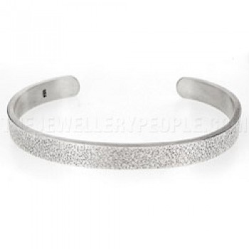 Dot Texture Open Silver Bangle - 8mm Wide