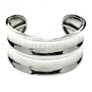 Double Concave Silver Bangle - 34mm Wide