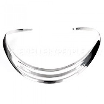 Double Curved Slot Silver Collar - 17mm Wide