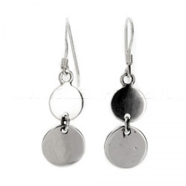 Double Disc Silver Earrings