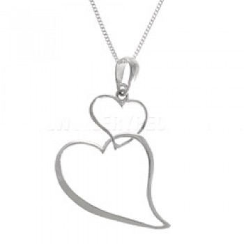 Double Hanging Heart Silver Pendant