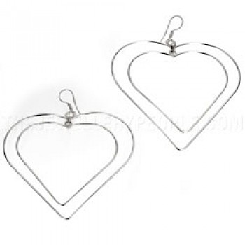 Double Heart Silver Wire Earrings - 70mm Wide