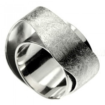 Double Layer Brushed Silver Ring
