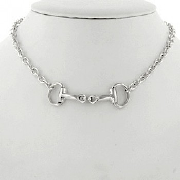 "Double Snaffle Oval Chain Necklace - 18"" (46cms)"