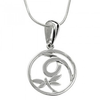 Dragonfly Circle Silver Pendant