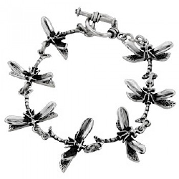 Dragonfly Silver Bracelet - 23mm Wide