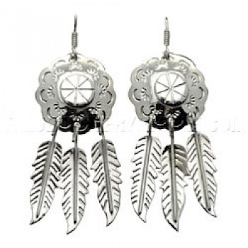 Dream Catchers Silver Earrings - 60mm Long