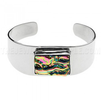 Electric Pink Dichroic Glass & Silver Bangle