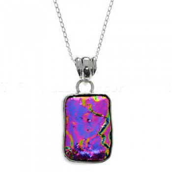Electric Pink Dichroic Glass & Silver Pendant