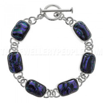 Electric Purple Dichroic Glass & Silver Bracelet