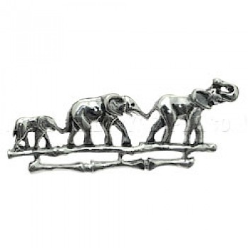 Elephant Family Silver Brooch - 60mm Wide