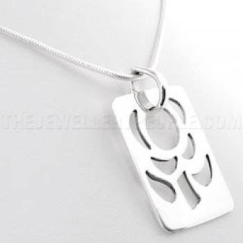 English Rose Cut Out Silver Pendant