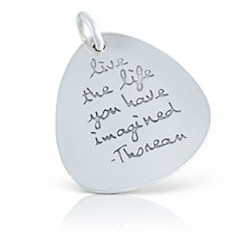 Engraved Message Silver Pendant