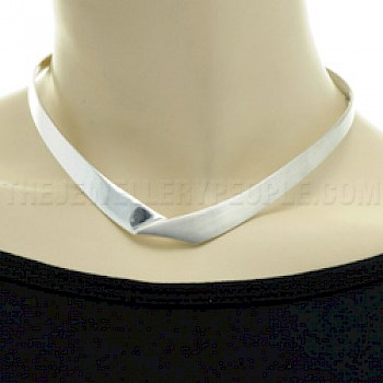 Envelope Half Brushed Silver Collar - 11mm Wide