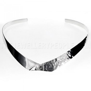 Envelope Half Hammered Silver Collar - 12mm Wide