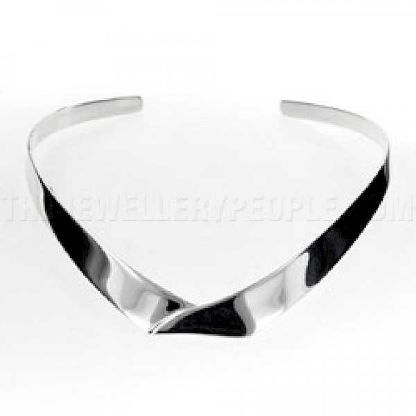 Envelope Polished Silver Collar - 12mm Wide
