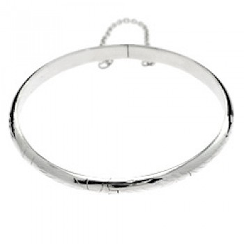 Etched Silver Bangle - Large