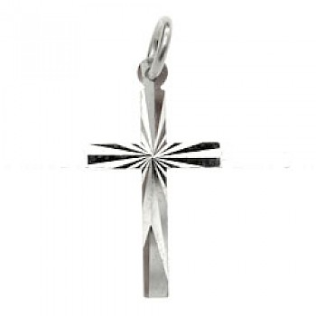Etched Silver Cross Charm