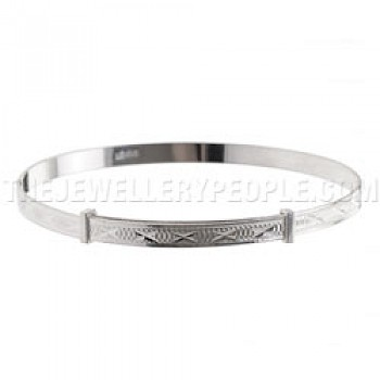 Etched Crosses Silver Bangle - Ladies