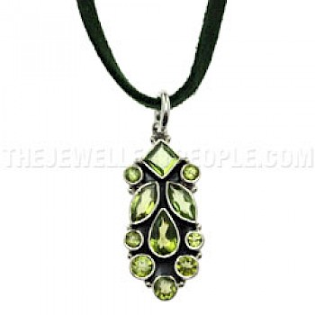 Faceted Peridot Stones Silver Pendant