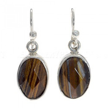 Oval Faceted Tiger Eye & Silver Earrings