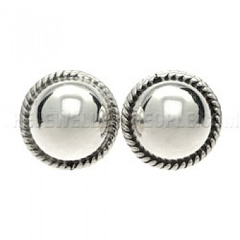 Fancy Dome Silver Clip-on Earrings - 19mm