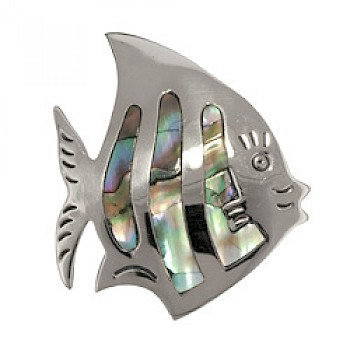 Fish Brooch with Abalone Shell Inlay