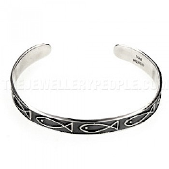 Fishes Open Silver Childs Bangle 7+