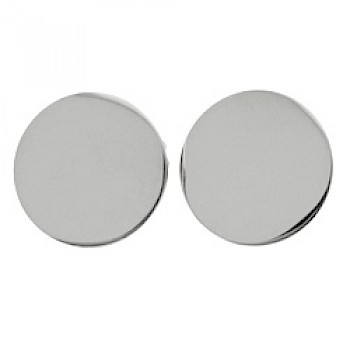 Flat Disc Silver Clip-On Earrings - 18mm
