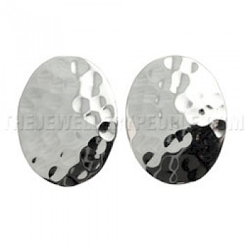 Flat Hammered Oval Silver Clip On Earrings - 26mm