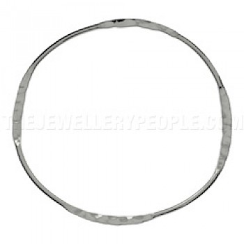 Flat Hammered Silver Bangle - 4mm Solid