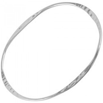 Flat Hammered Silver Bangle-Oval - 3mm Solid