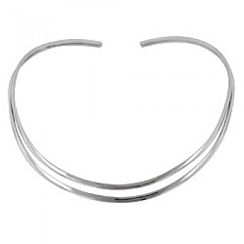 Flattened Double Wire Silver Collar - 9mm Wide