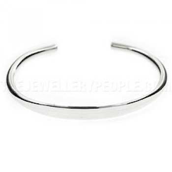 Flattened Middle Open Silver Bangle - 6mm Wide