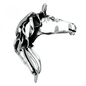 Flowing Horse Head Silver Brooch & Pendant - 50mm