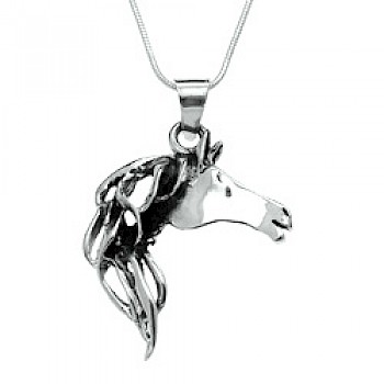 Flowing Horse Head Silver Pendant - 40mm