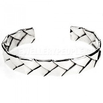Flexible Folded Plait Open Silver Bangle - 10mm Wide