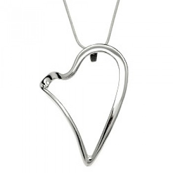 Freehand Heart Silver Pendant